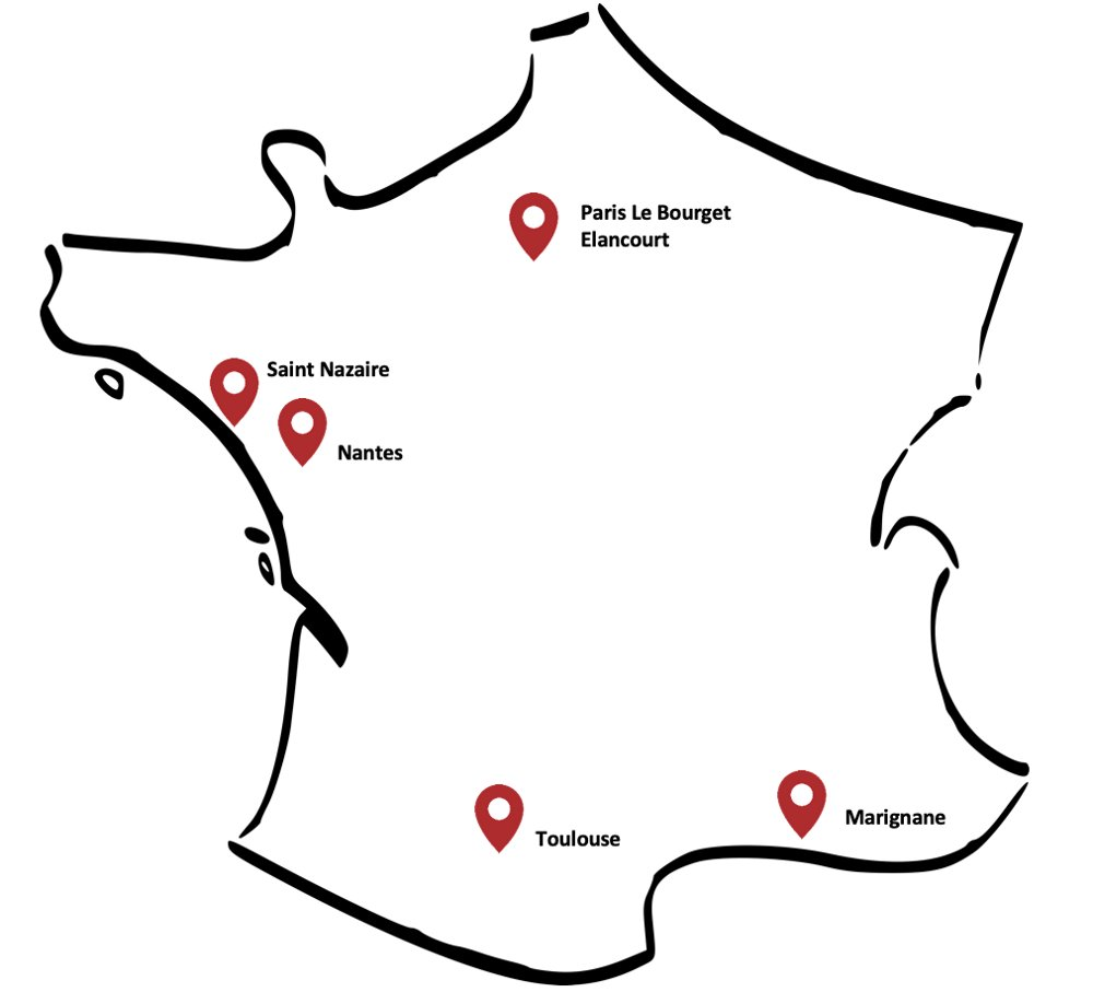 A simplified map of France showing where Airbus' operations in the country are located.