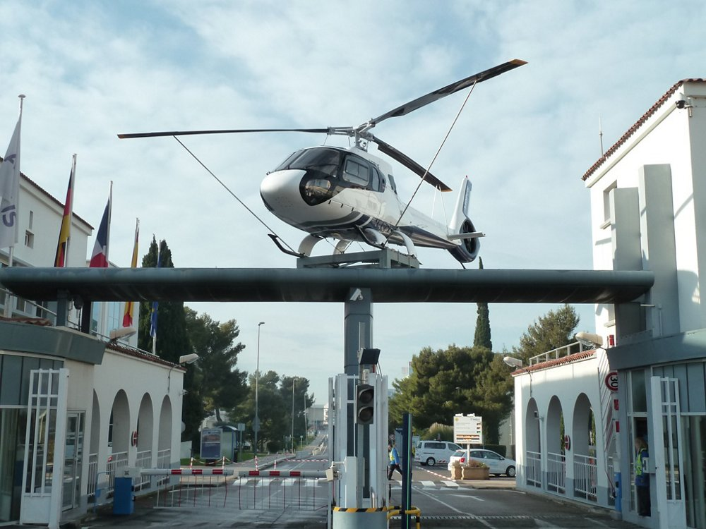 The entrance of Marignane site showing the prototype of Ecureuil AS350 Z.