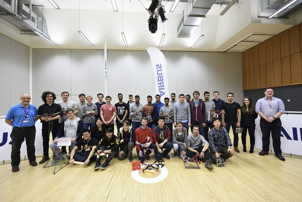 "A group photo of students taking part in the Airbus-supported ""Drone Dash"" competition, which is hosted by the University of Bristol."