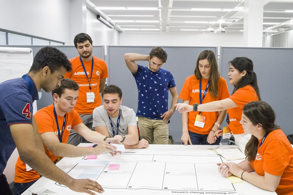 Team 3 working on a business model exercise, set by Dr Denyse Julien, at the Airbus Airnovation Summer Camp, Cranfield University, United Kingdom.