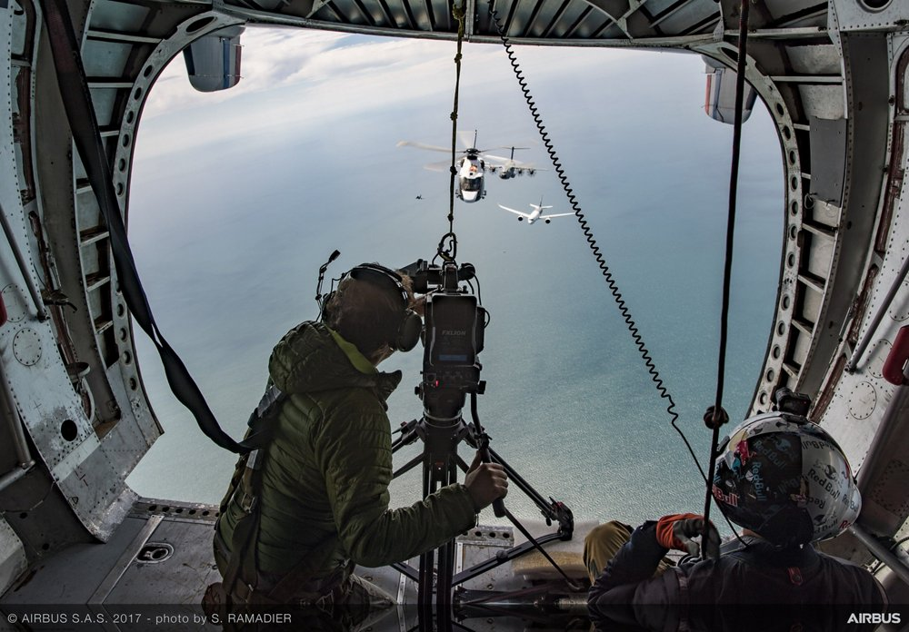 A photo of behind the scenes during Family Flight photo and video shooting.