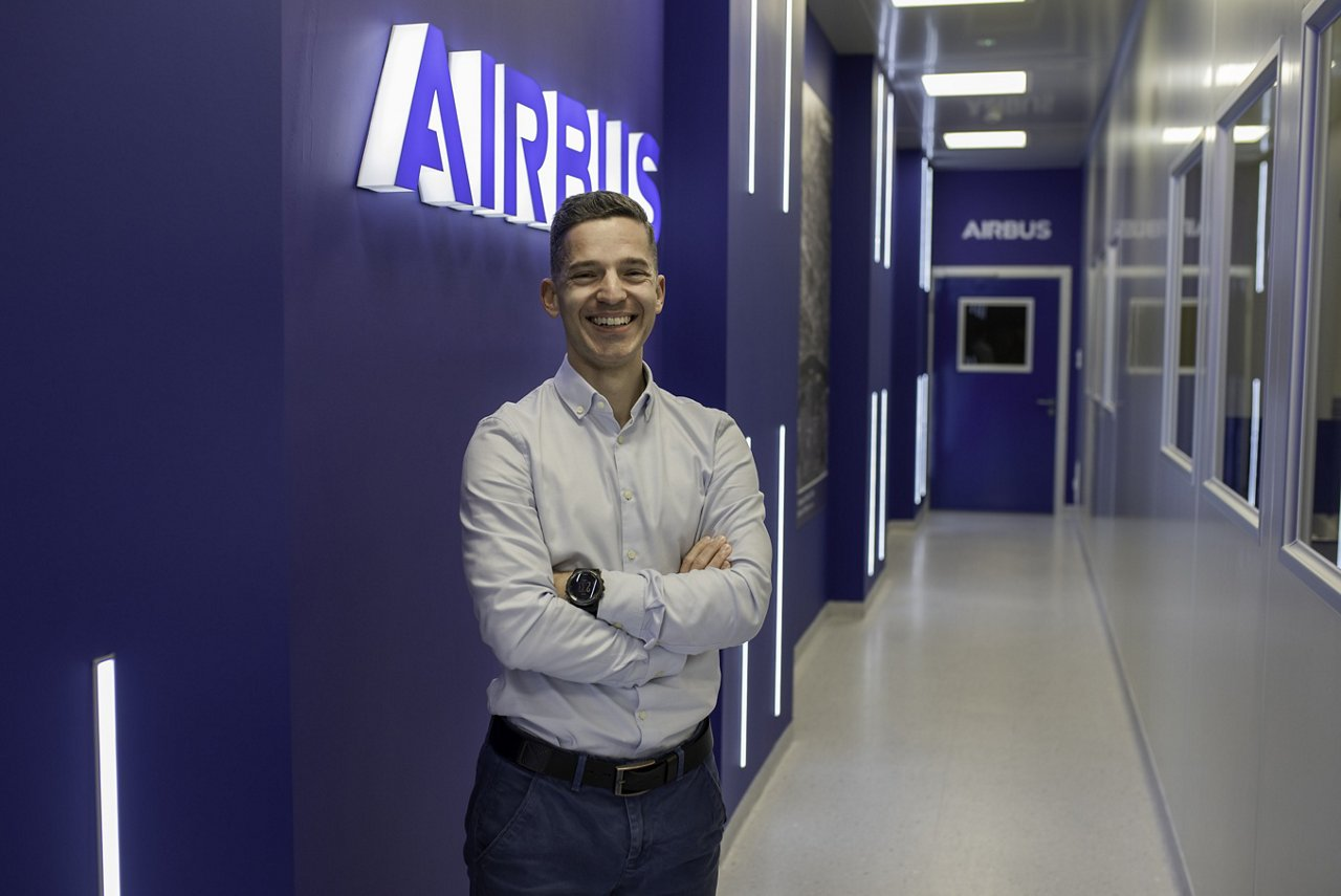 A portrait of Wojciech in Airbus offices in Poland.