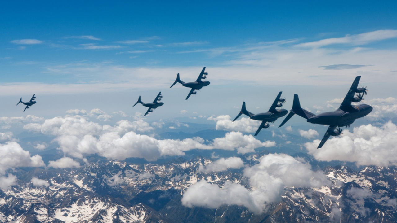 A formation flight involving five Airbus-produced A400M military airlifters