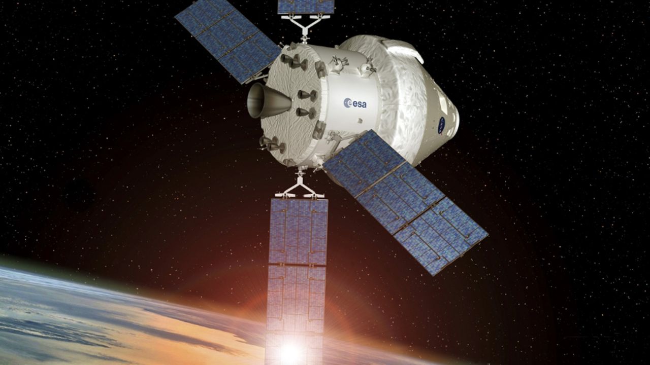 A computer rendering of the Orion spacecraft with Airbus-produced European Service Module (ESM)