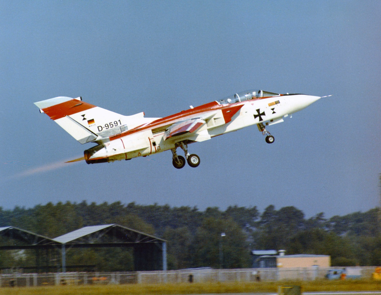 The MRCA prototype, later known as the Tornado, takes off for its 1974 maiden flight.