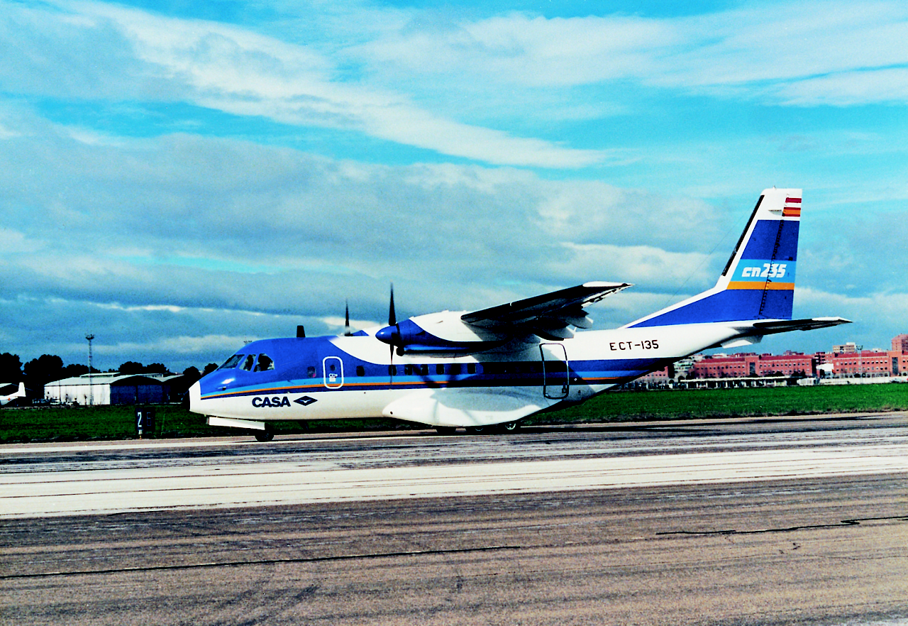 A CN235 airlifter speeds down the runway ahead of its 1983 maiden flight.