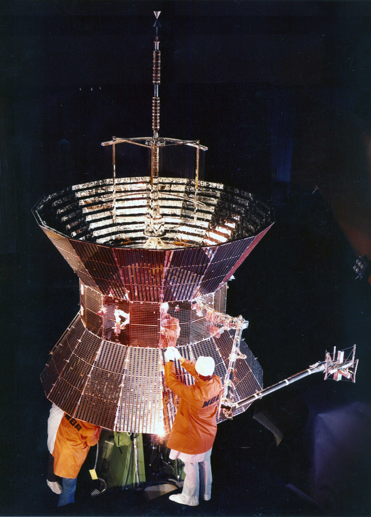 The Helios-A satellite, built by Airbus predecessor Messerschmitt-Bölkow-Blohm, is readied for launch.