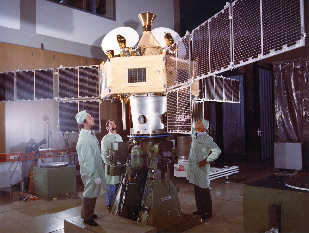 Europe's first communications satellite, Symphonie, is inspected ahead of its 1974 launch on a Delta rocket.