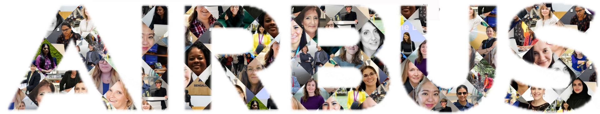A collage of women's faces that make up the Airbus logo.