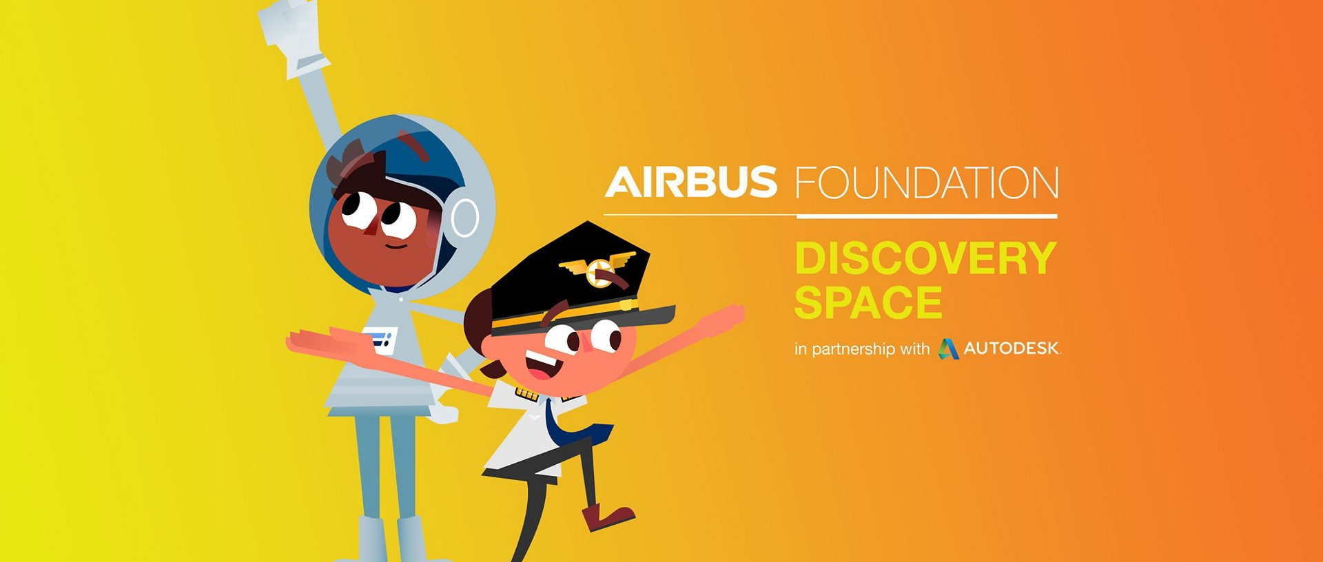 Airbus Foundation Discovery Space logo with boy astronaut and girl pilot cartoon characters