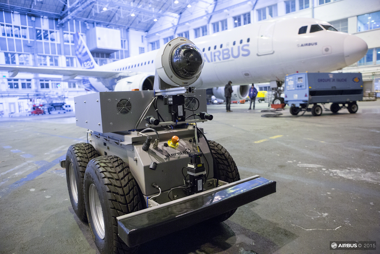 Air-Cobot, one of several technologies integrated into the Hangar of the Future, is a collaborative robot that automates visual inspection procedures. During aircraft inspections, Air-Cobot performs a thorough diagnosis in any weather or light conditions.