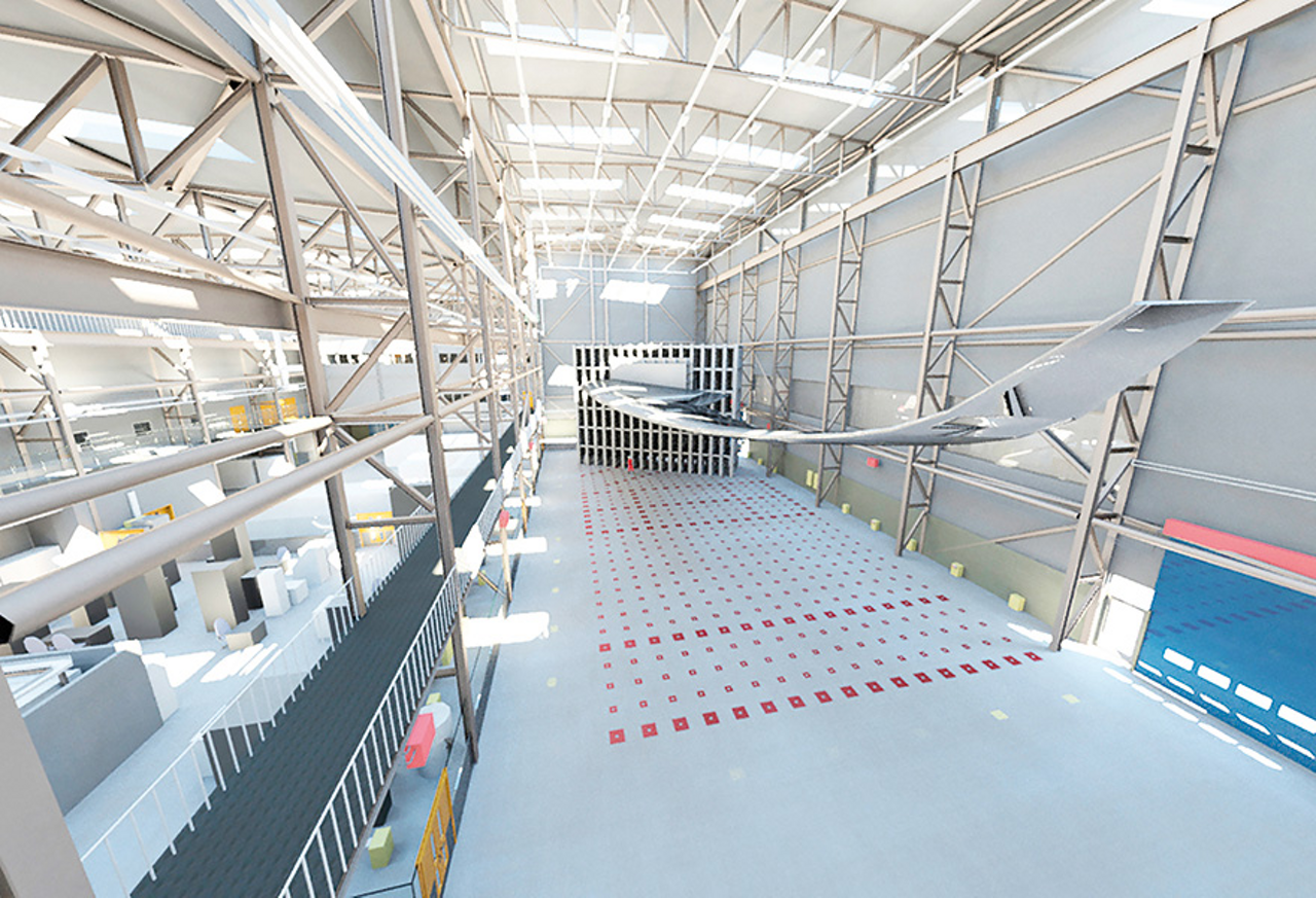 Artist impressions of the future strong wall and floor test area in the Airbus Wing Integration Centre with a wing installed and ready for testing