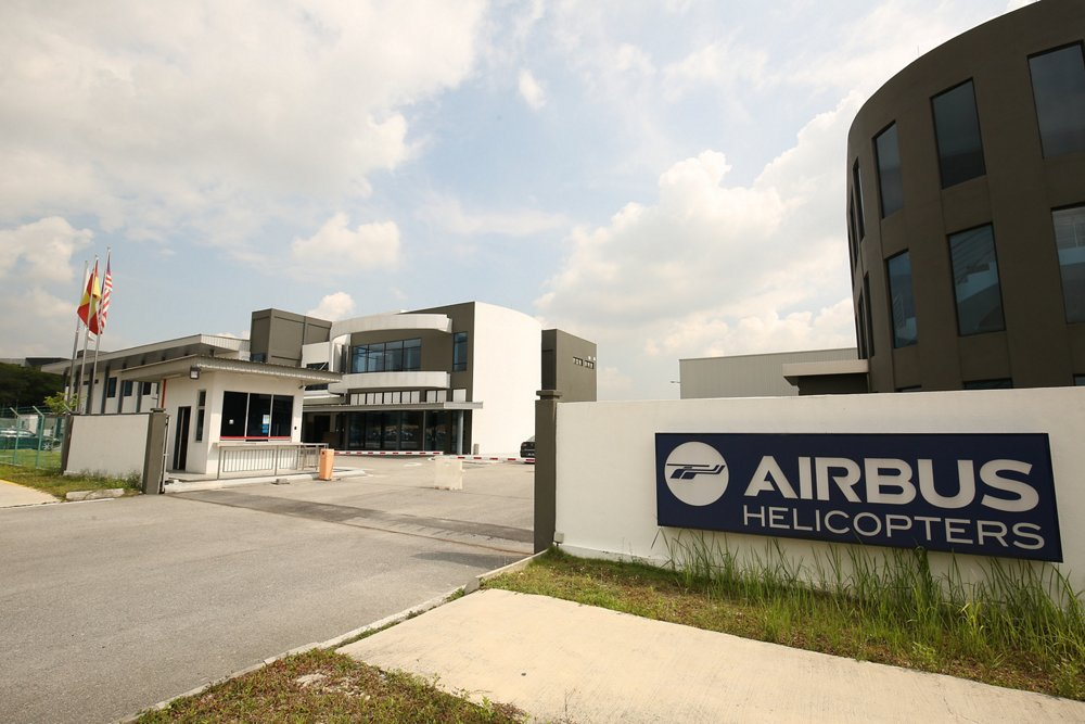 An external view of the Airbus Helicopters Malaysia facility, taken from outside its main entrance.
