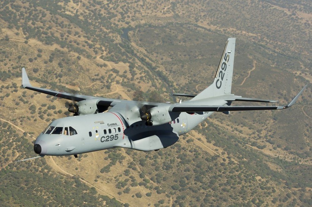 An in-flight Airbus C295 tactical aircraft, which was selected for Canada's Fixed-Wing Search and Rescue Programme.