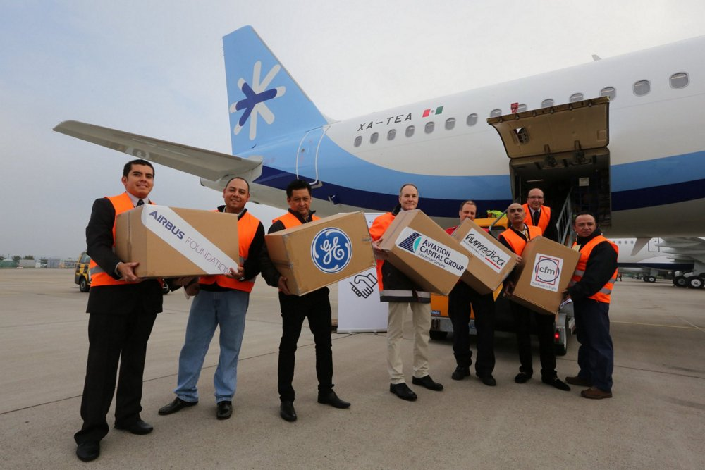 Relief materials are unloaded as part of an Airbus Foundation initiative that followed devastating earthquakes in Mexico.
