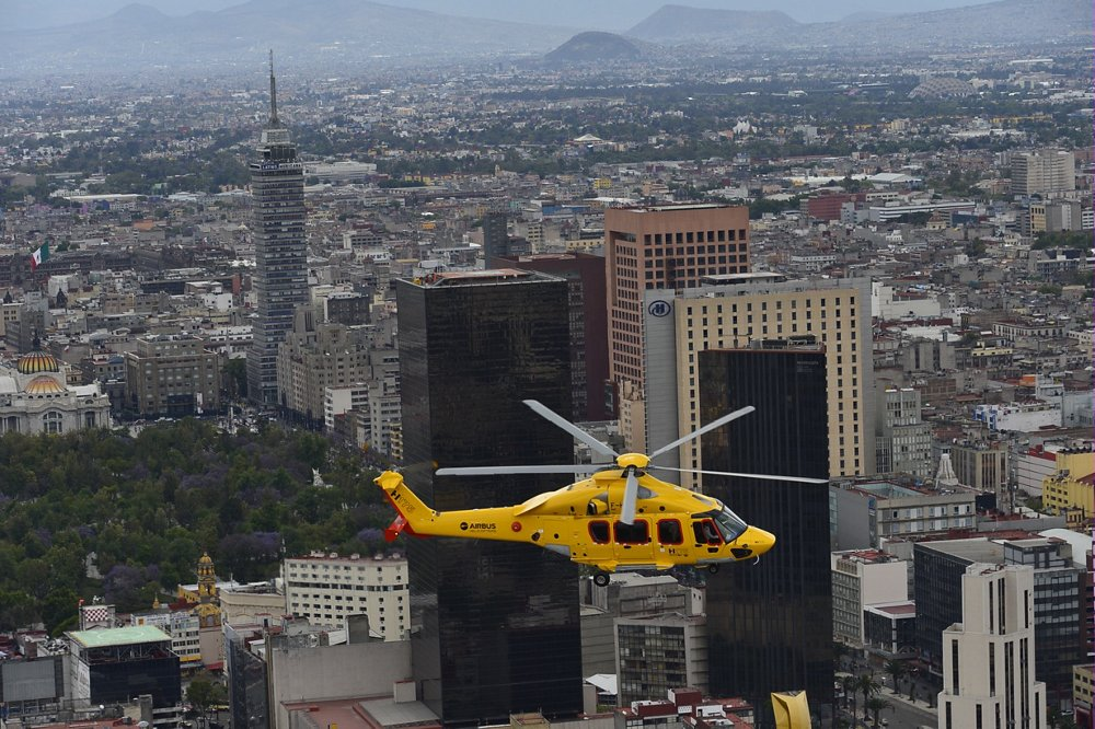 An Airbus H175 helicopter flies over Mexico as part of its 2015 tour for customers of the oil and gas sector.