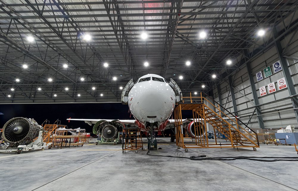 A view inside the hangar facilities of Sepang Aircraft Engineering, Airbus' MRO subsidiary in Malaysia.