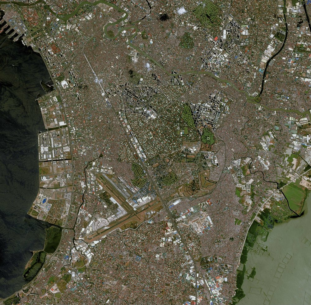 Satellite image of Manila taken by the Airbus-produced Pléiades 1A Earth observation spacecraft.