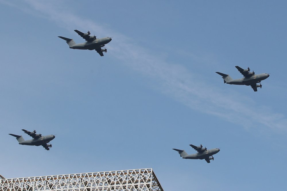 A formation flight of four A400M military airlifters delivered to the Royal Malaysian Air Force.