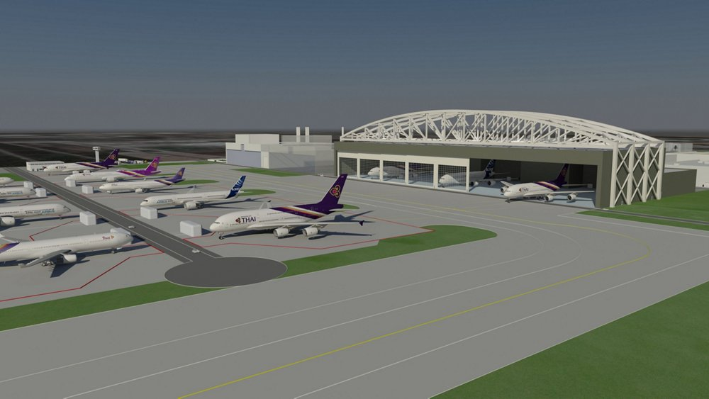 A representation of the maintenance and overhaul facility at U-Tapao International Airport, created by a joint venture of Airbus and Thai Airways International.