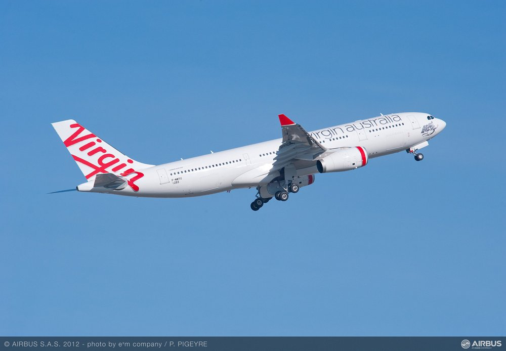 An in-flight photo of an A330-200 delivered to Virgin Australia.