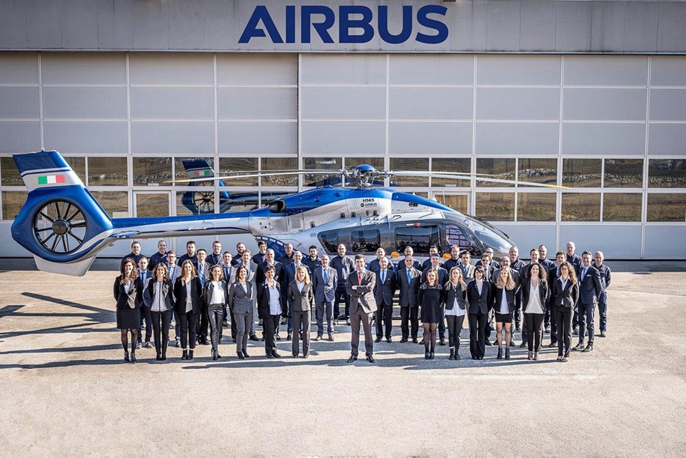 Verona And Trento Team In Front Of Airbus Helicopters Hangar In Trento