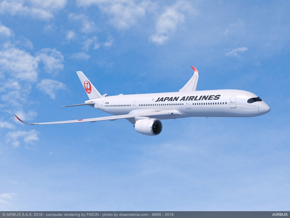 Representation of an in-flight Airbus A350-1000 with Japan Airlines livery.