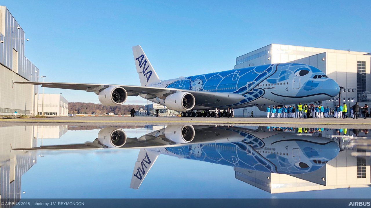 A380 ANA Rolls Out Of Paintshop