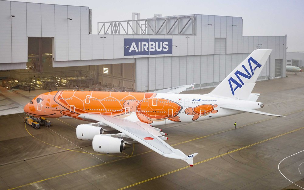 ANA 3rd A380 rolls out of paint shop in Hamburg