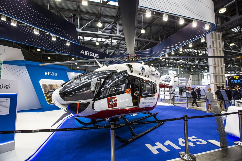 An Airbus H175 helicopter is displayed at the HeliRussia trade show in Moscow.