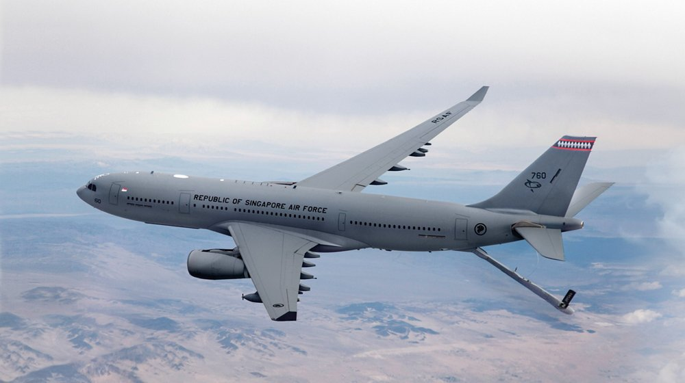 Side view of an in-flight A330 Multi Role Tanker Transport (MRTT) delivered to the Republic of Singapore Air Force.