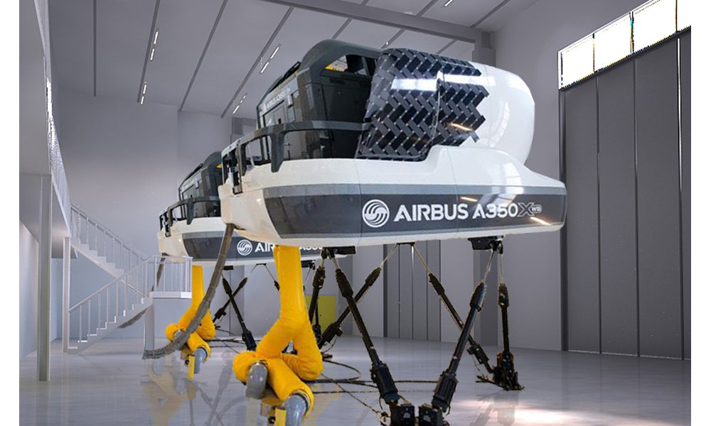Two flight simulators, side-by-side at the Airbus Asia Training Centre (AATC) in Singapore.
