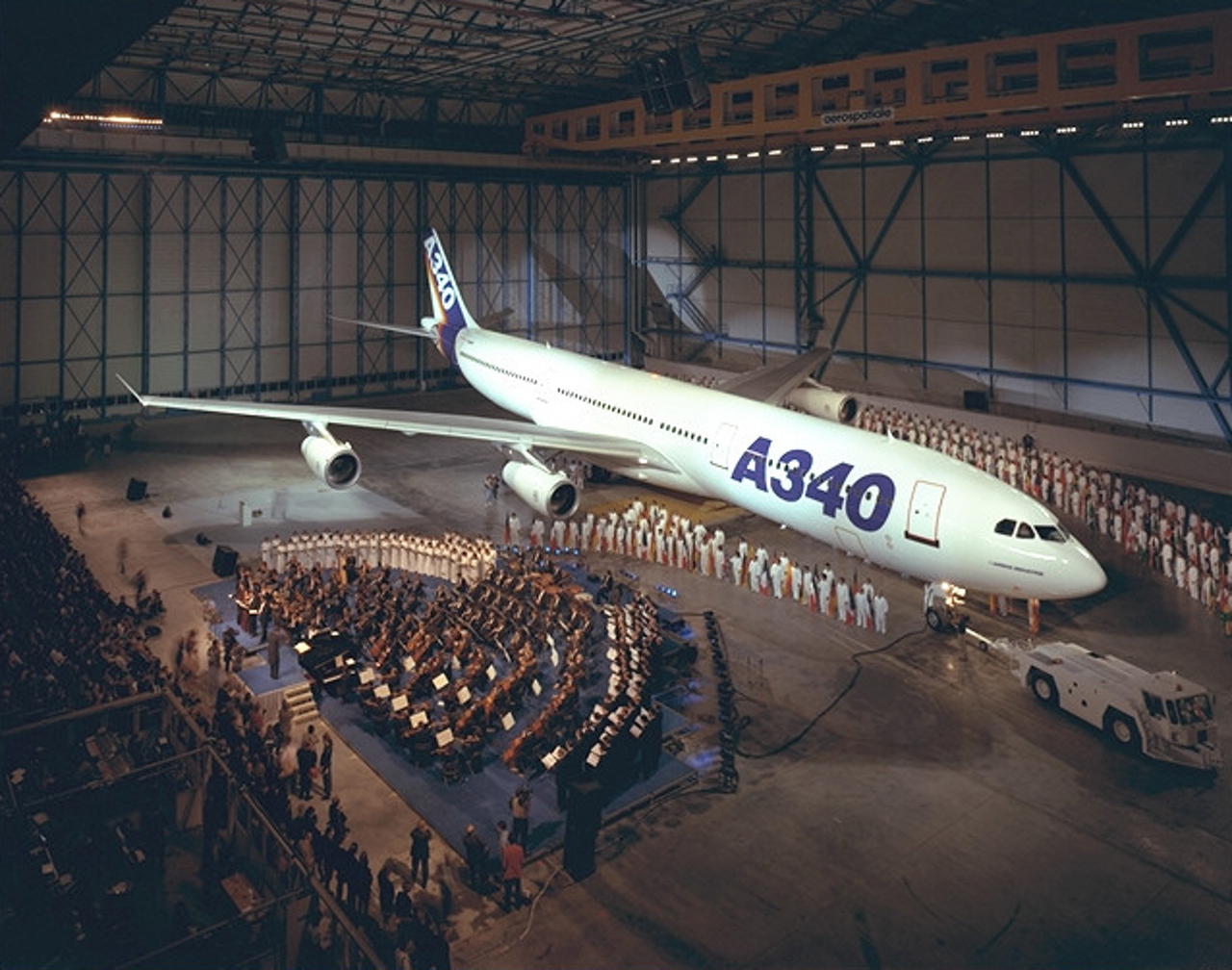 Airbus' A340 is introduced to the world during a media event.