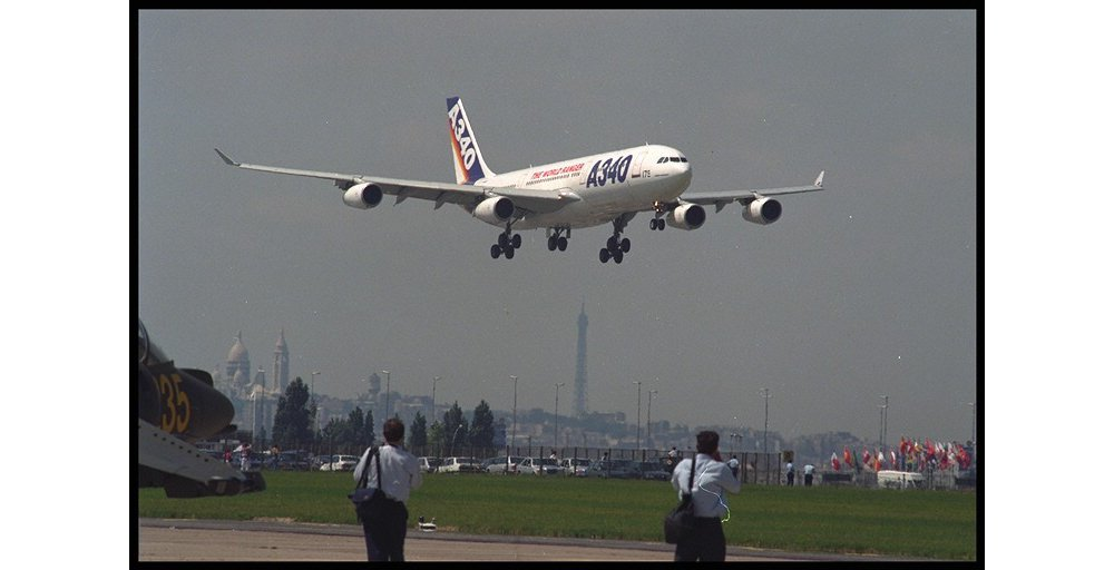 Airbus' long-range, four-engine A340 commercial aircraft showcased its capabilities during the 1993 Paris Air Show's flying display.