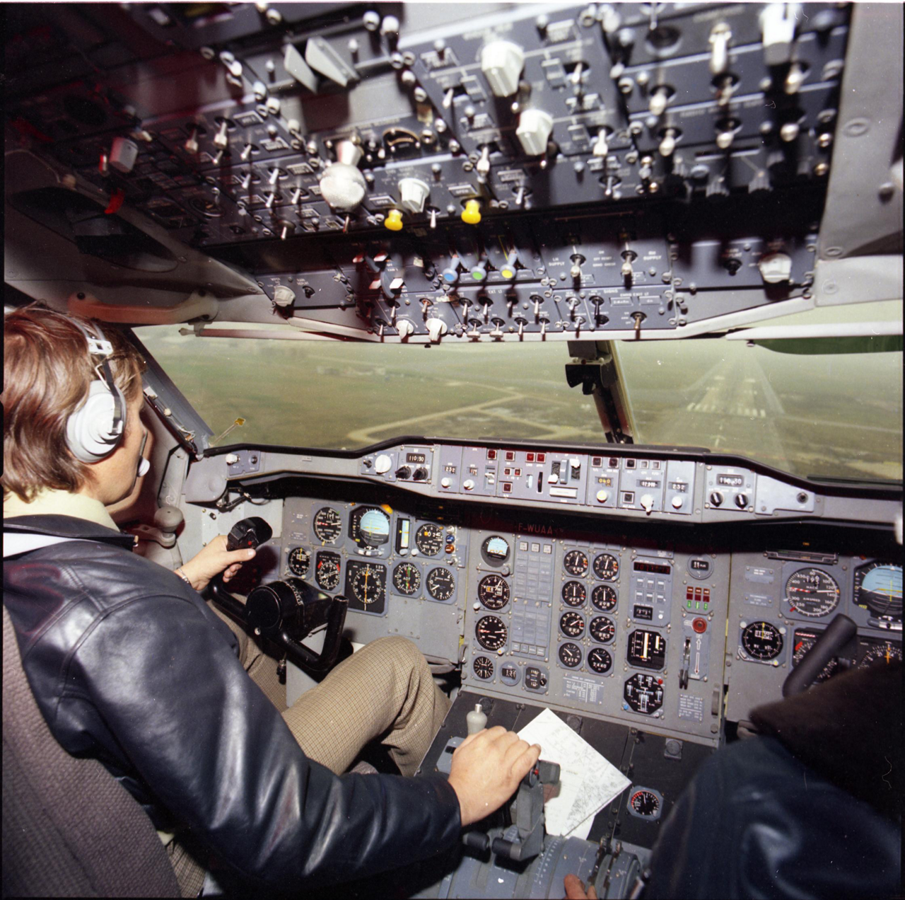 A view of Airbus' innovative Forward-Facing Crew Cockpit configuration inside an A300 aircraft.