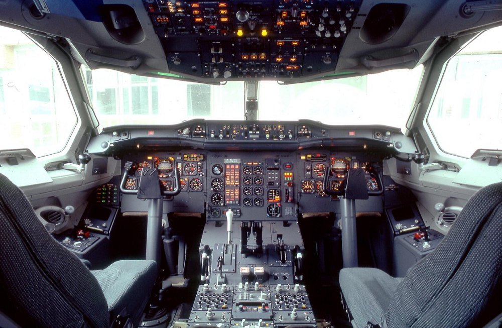 The A300-600's flight deck layout is shown in this photo taken inside the aircraft's cockpit