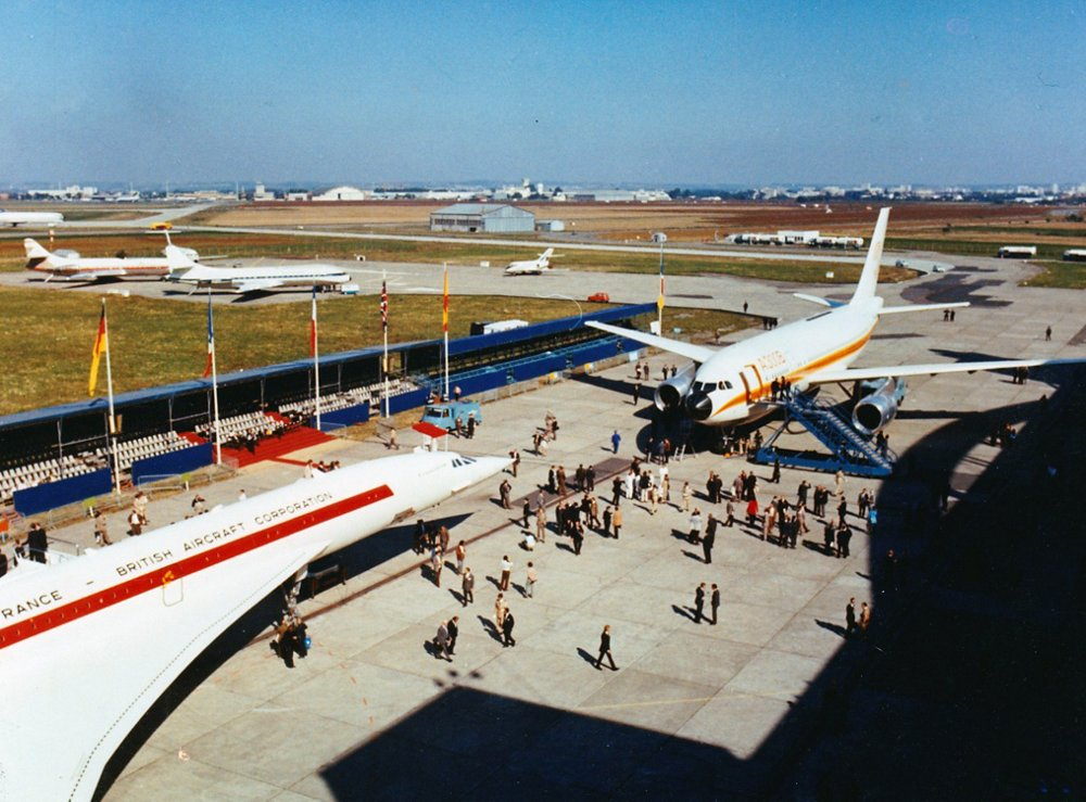 An A300B commercial aircraft is on display along with a Concorde supersonic jet.