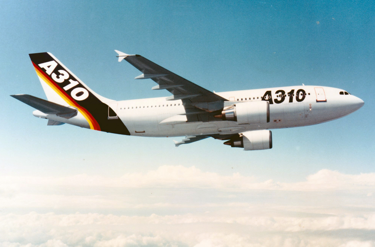 Side view of Airbus' A310 aircraft during its 1982 maiden flight.