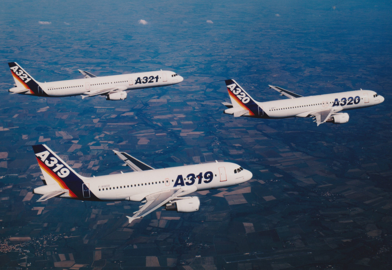Airbus' single-aisle A319, A320 and A321 aircraft fly in formation.