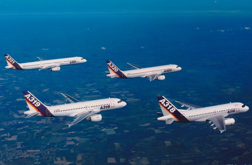 A formation flight with the four members of Airbus' single-aisle A320 Family: the A318, A319, A320 and A321.