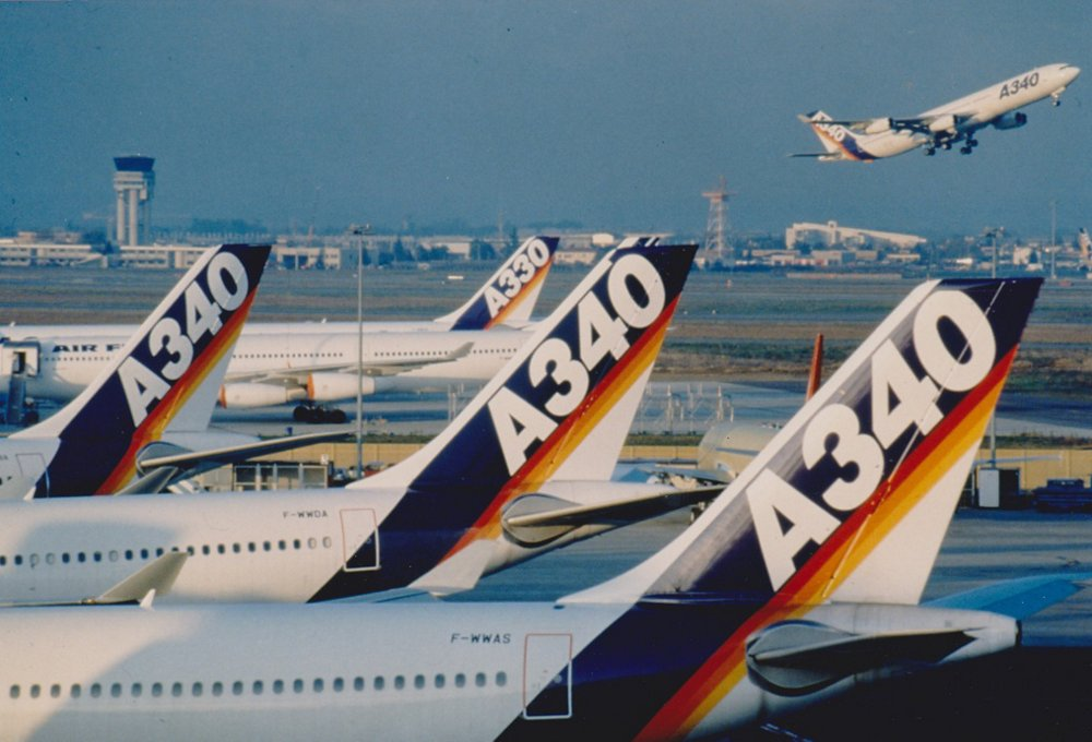 A row of tail sections for Airbus' A330 and A340 commercial aircraft, which were jointly launched in 1987.