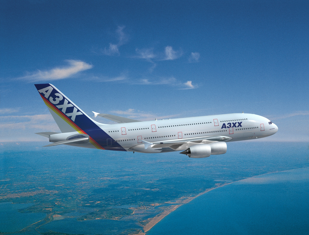 An in-flight representation of Airbus' A3XX aircraft, later designated the A380.