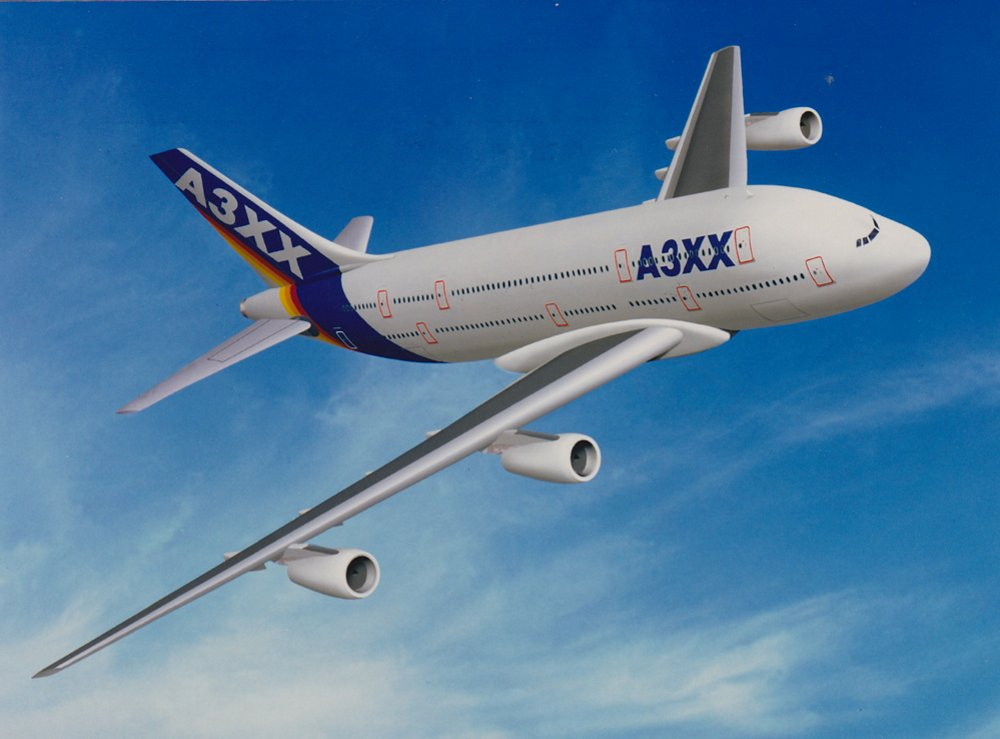 An early rendering of the A3XX, which would be developed into Airbus' A380 widebody commercial aircraft.