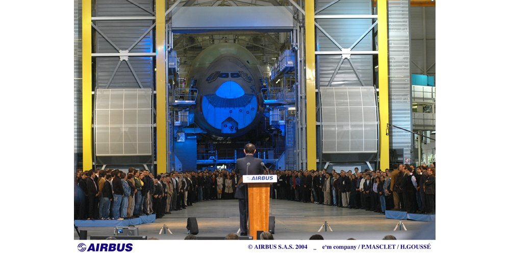 Airbus' A380 final assembly line was officially opened with a 2004 ceremony involving French Prime Minister Jean-Pierre Raffarin.
