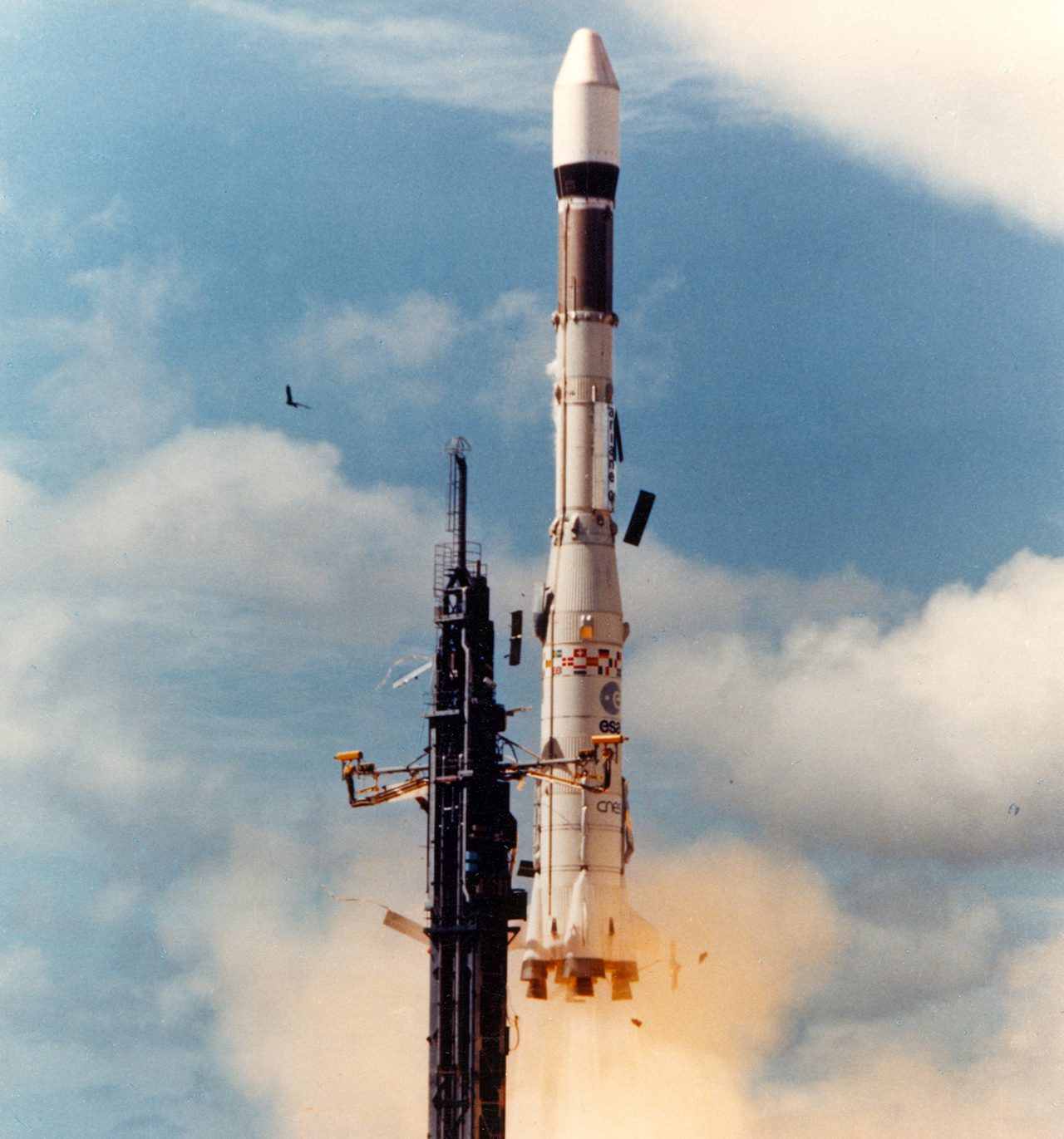 Ariane 1 lifts off on its maiden flight from the Guiana Space Centre in 1979.