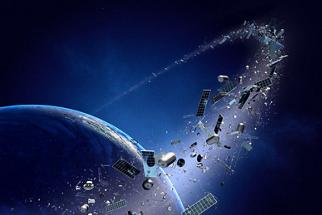 地球周围的空间垃圾轨道 - 我们的行星周围的污染概念(纹理地图由NASA提供的3D  -  http://visibleearth.nasa.gov/)
