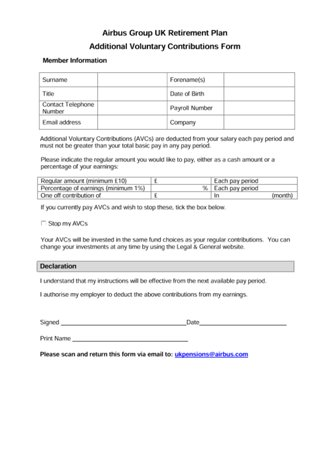 Retirement Plan AVC form
