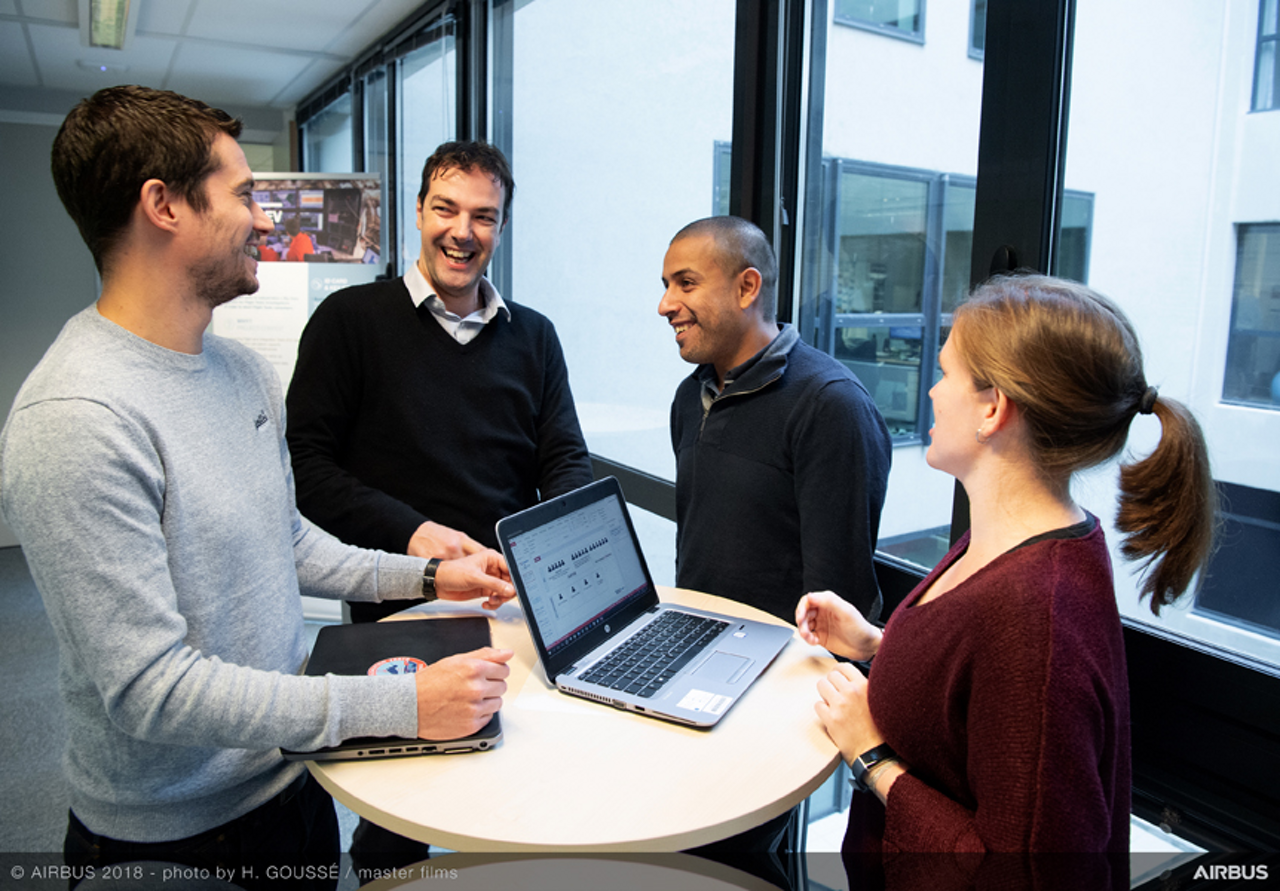 Adil Soubki (second from right), as an Airbus data scientist, knows the importance of successful dialogue and collaboration with experts and teammates