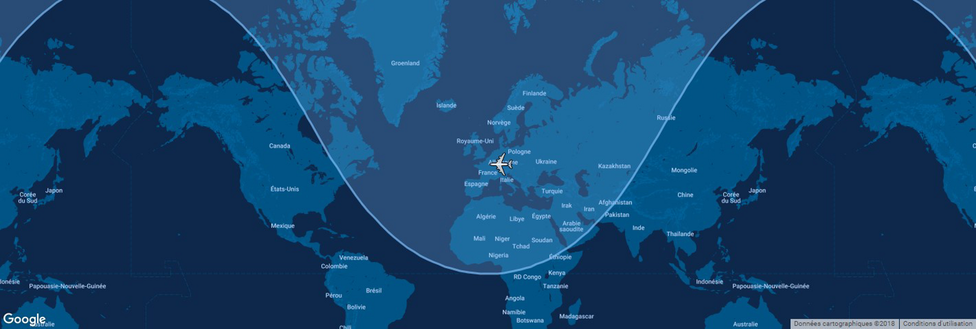 Overlaid on a global map, the typical range for Airbus' A220-100 commercial aircraft is shown in this diagram.