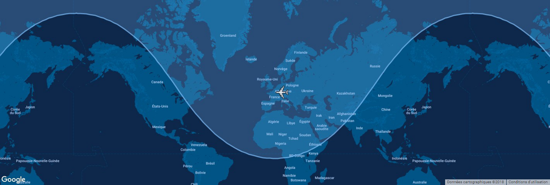 This diagram shows the typical range for Airbus' A220-300 commercial aircraft overlaid on a global map.